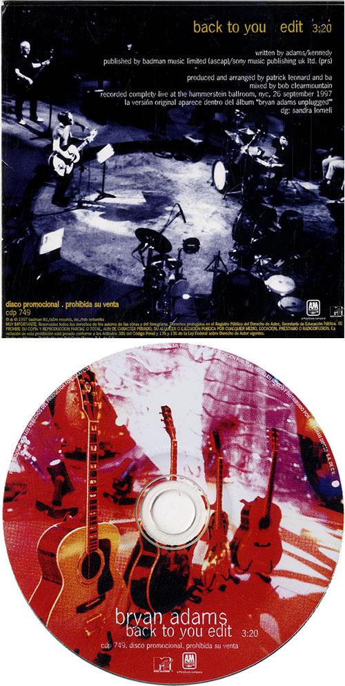 "Bryan Adams Back To You CD single (CD5 / 5"") Mexican ADAC5BA107150"
