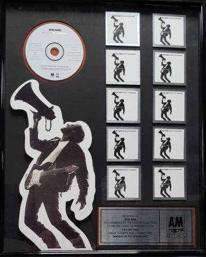 Bryan Adams Waking Up The Neighbours - 10,000,000 award disc US ADAAWWA694013