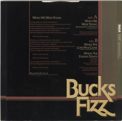 "Bucks Fizz When We Were Young 12"" vinyl single (12 inch record / Maxi-single) UK BUC12WH258392"
