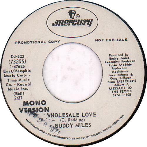 """Buddy Miles Wholesale Love 7"""" vinyl single (7 inch record) US BME07WH651057"""