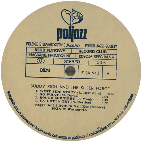 Buddy Rich Buddy Rich vinyl LP album (LP record) Polish BU-LPBU579526