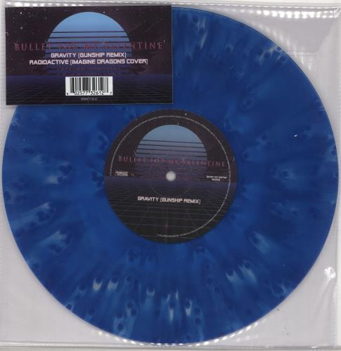 "Bullet For My Valentine Gravity (Gunship Remix) - Blue Vinyl 10"" vinyl single (10"" record) UK BMU10GR728860"