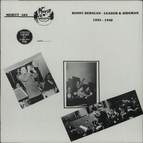 Bunny Berigan Leader & Sideman 1935-40 vinyl LP album (LP record) US 5BBLPLE669388