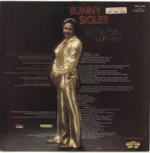 Bunny Sigler Let Me Party With You vinyl LP album (LP record) UK BNXLPLE689044