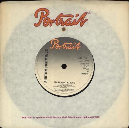 "Burton Cummings My Own Way To Rock 7"" vinyl single (7 inch record) UK F3R07MY701547"