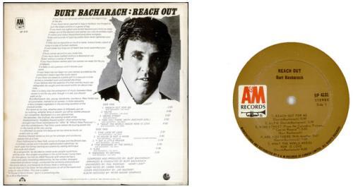 Burt Bacharach Reach Out vinyl LP album (LP record) Canadian BAHLPRE528054