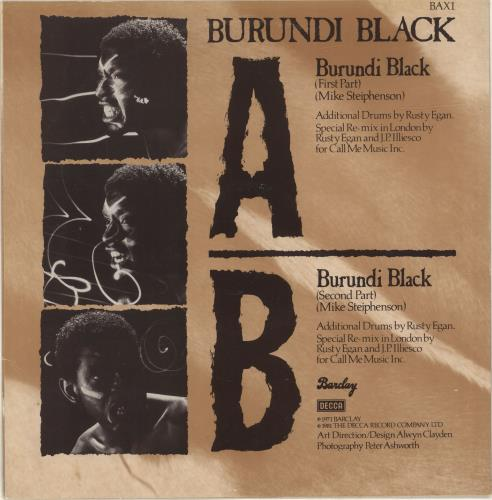 """Burundi Black Burundi Black 12"""" vinyl single (12 inch record / Maxi-single) UK D8T12BU694209"""