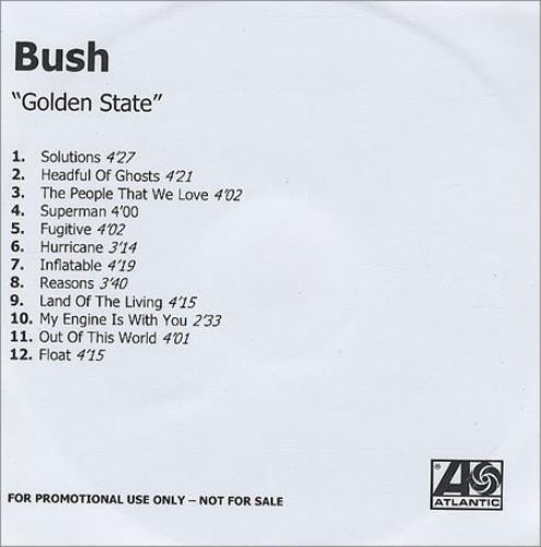 Bush Golden State CD-R acetate UK B-UCRGO203174