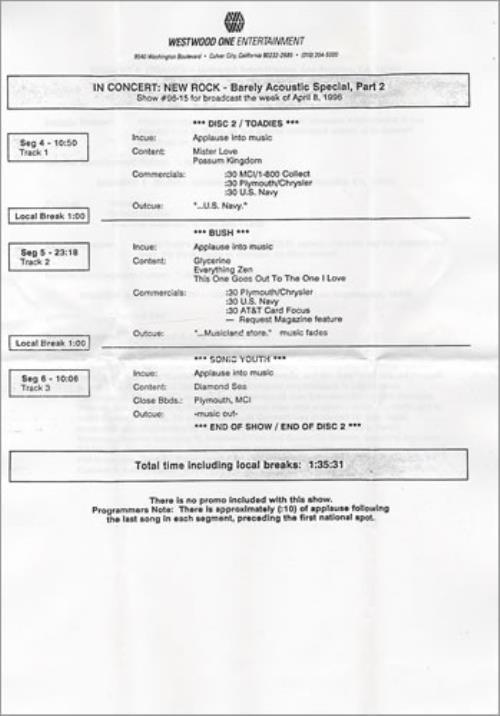 Bush In Concert: New Rock CD album (CDLP) US B-UCDIN261789