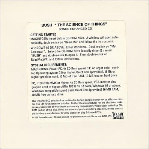 Bush The Science Of Things CD-ROM US B-UROTH250169