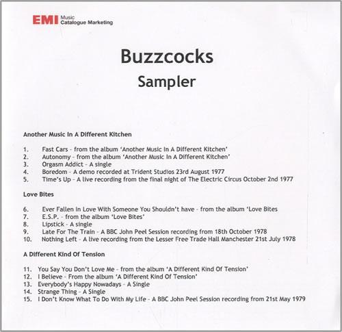 Buzzcocks Sampler CD-R acetate UK BUZCRSA456169