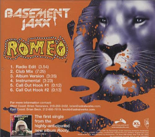"Basement Jaxx Romeo US Promo CD Single (CD5 / 5"") (332728"
