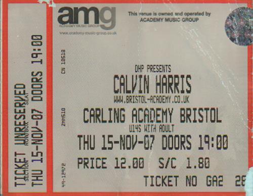 Calvin Harris Carling Academy, Bristol concert ticket UK CI3TICA649609