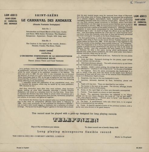 "Camille Saint-Saëns Carnival of the Animals 10"" vinyl single (10"" record) UK UCV10CA763392"