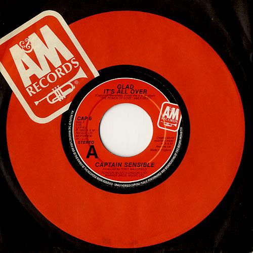 "Captain Sensible Glad It's All Over 7"" vinyl single (7 inch record) UK CSE07GL591855"