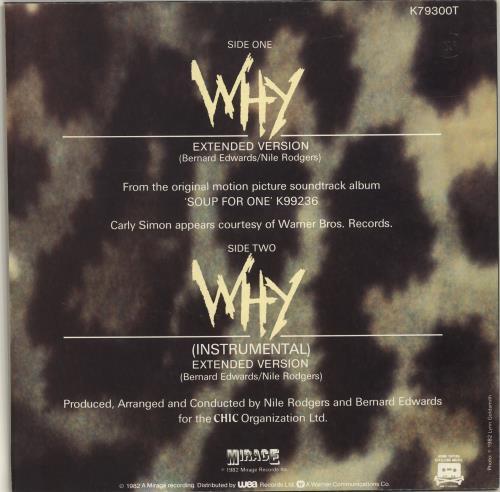 "Carly Simon Why 12"" vinyl single (12 inch record / Maxi-single) UK CAL12WH98891"