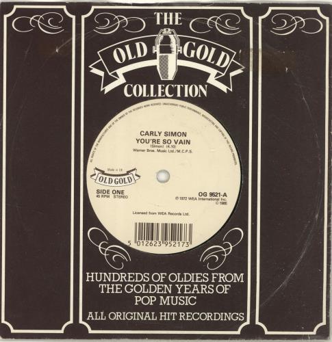 "Carly Simon You're So Vain 7"" vinyl single (7 inch record) UK CAL07YO697470"