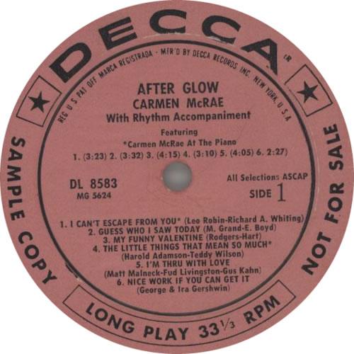 Carmen McRae After Glow vinyl LP album (LP record) US C-MLPAF604658