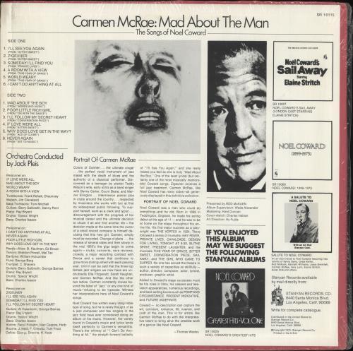 Carmen McRae Mad About The Man vinyl LP album (LP record) US C-MLPMA723904