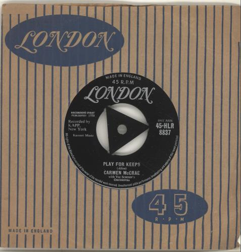 "Carmen McRae Play For Keeps 7"" vinyl single (7 inch record) UK C-M07PL696571"