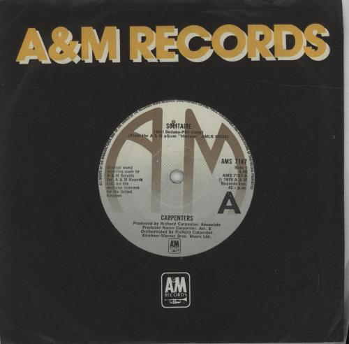 "Carpenters Solitaire 7"" vinyl single (7 inch record) UK CRP07SO677362"
