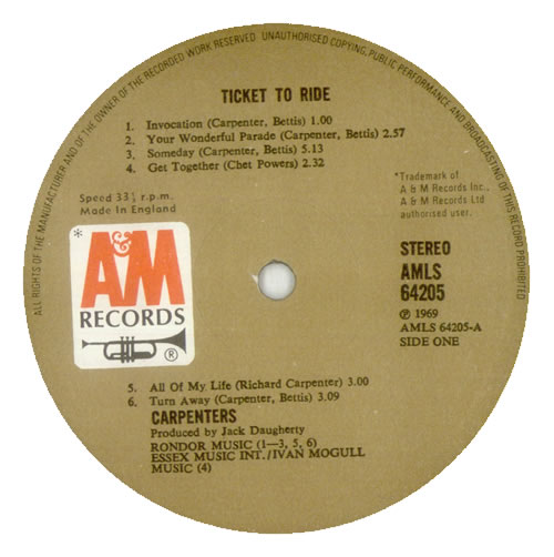 Carpenters Ticket To Ride vinyl LP album (LP record) UK CRPLPTI268561