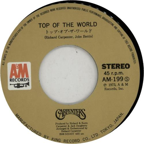 """Carpenters Top Of The World 7"""" vinyl single (7 inch record) Japanese CRP07TO650801"""