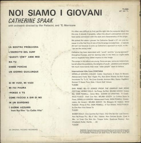 Catherine Spaak Noi Siamo I Giovani vinyl LP album (LP record) UK QMTLPNO700366