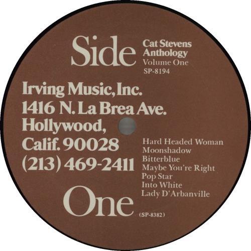Cat Stevens Cat Stevens Anthology - Volume One vinyl LP album (LP record) US CTVLPCA685781
