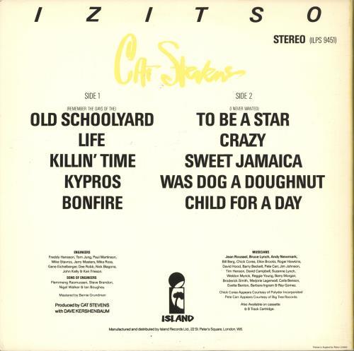 Cat Stevens Izitso + Credits Insert vinyl LP album (LP record) UK CTVLPIZ708176