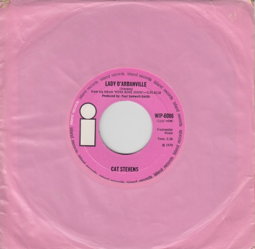 "Cat Stevens Lady D'Arbanville - Wide 7"" vinyl single (7 inch record) UK CTV07LA242446"