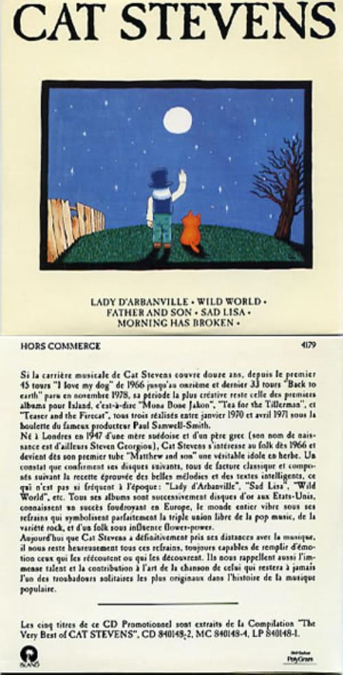 "Cat Stevens Lady D'arbanville CD single (CD5 / 5"") French CTVC5LA148354"