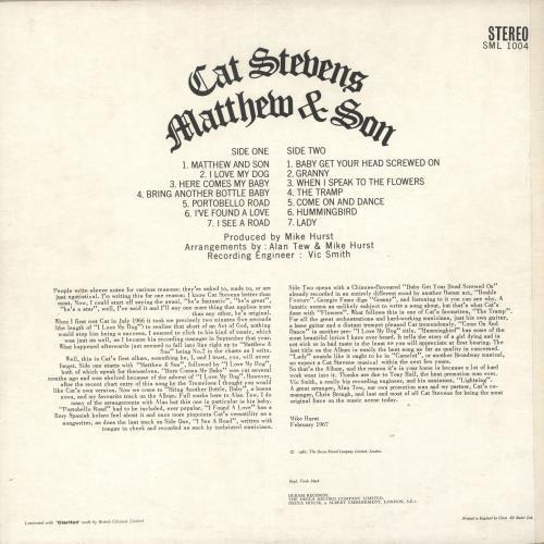 Cat Stevens Matthew & Son - 2nd vinyl LP album (LP record) UK CTVLPMA724711