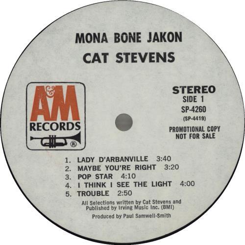 Cat Stevens Mona Bone Jakon vinyl LP album (LP record) US CTVLPMO685782