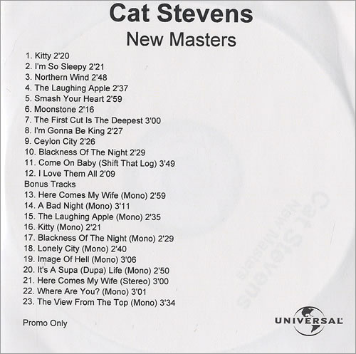 Cat Stevens New Masters CD-R acetate UK CTVCRNE275455