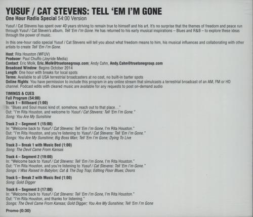 Cat Stevens Tell 'Em I'm Gone - One Hour Radio Special 54:00 Version CD-R acetate US CTVCRTE664359