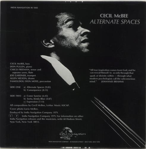 Cecil McBee Alternate Spaces vinyl LP album (LP record) US C4VLPAL706369