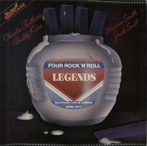Charlie Feathers Four Rock 'N' Roll Legends - Gold promo stamped vinyl LP album (LP record) UK 8CFLPFO545658
