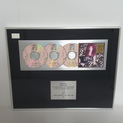 Cher Greatest Hits - Triple Platinum award disc UK CHEAWGR608904