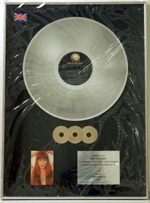 Cher Love Hurts - Triple Platinum award disc UK CHEAWLO608906