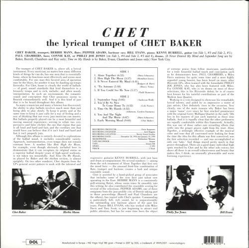 Chet Baker Chet picture disc LP (vinyl picture disc album) UK 6CBPDCH704197