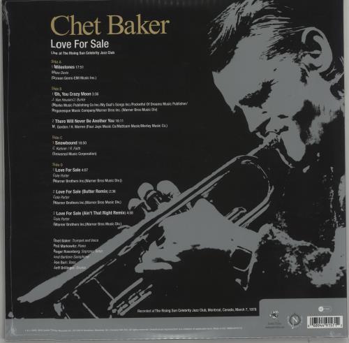 Chet Baker Love For Sale: Live at the Rising Sun Celebrity Club - 180gm 2-LP vinyl record set (Double Album) UK 6CB2LLO664877