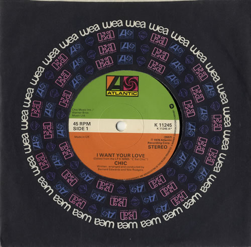 """Chic I Want Your Love - Solid Centre 7"""" vinyl single (7 inch record) UK CHC07IW566261"""