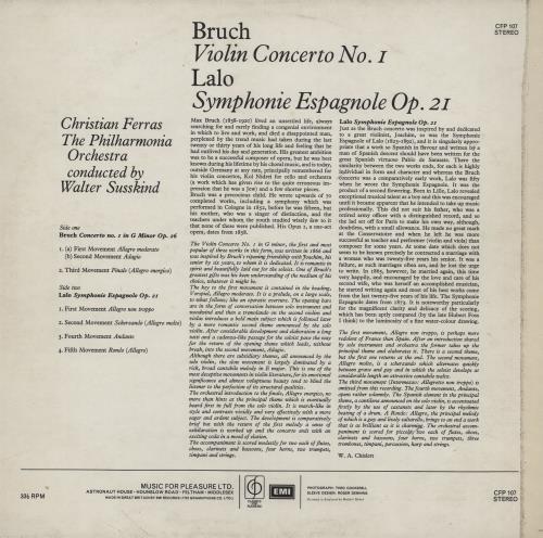 Christian Ferras Bruch Violin Concerto No.1 / Lalo Symphonie Espagnole vinyl LP album (LP record) UK I88LPBR760254