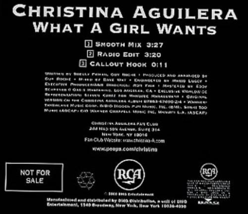 """Christina Aguilera What A Girl Wants CD single (CD5 / 5"""") US AAGC5WH154600"""