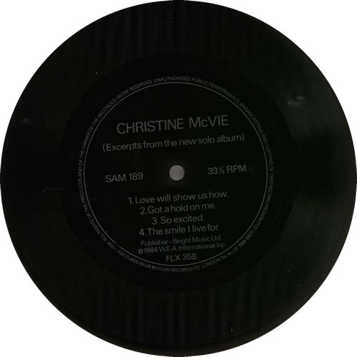 "Christine McVie Excerpts From The New Solo Album - Flexi 7"" vinyl single (7 inch record) UK MCV07EX634616"