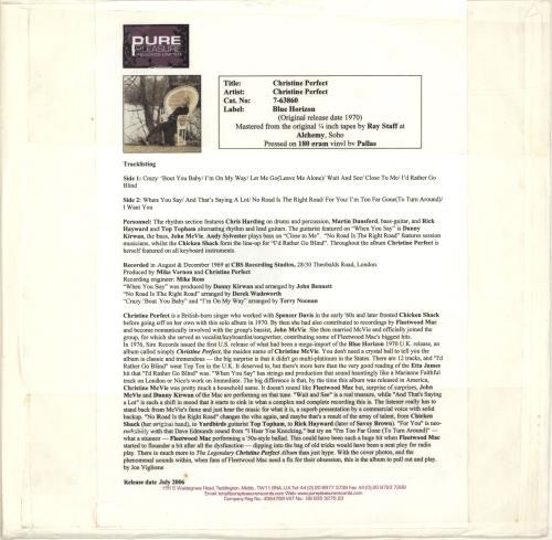 Christine Perfect Christine Perfect - 180gm - Test Pressing vinyl LP album (LP record) UK PFTLPCH693330