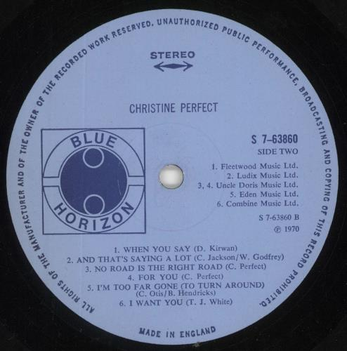 Christine Perfect Christine Perfect vinyl LP album (LP record) UK PFTLPCH642810
