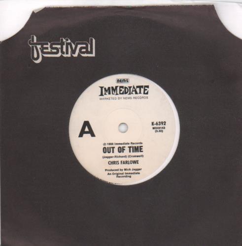 """Chris Farlowe Out Of Time 7"""" vinyl single (7 inch record) Australian CFA07OU655302"""