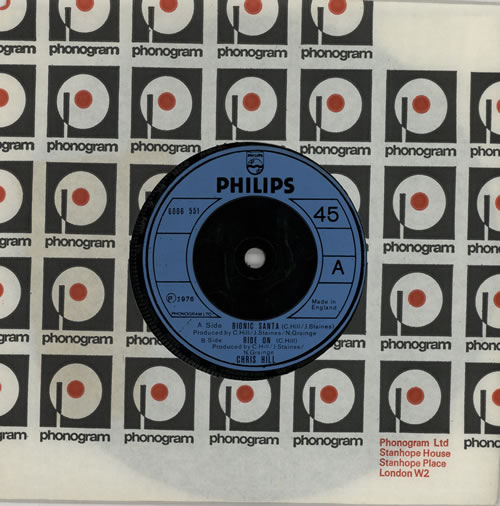 "Chris Hill Bionic Santa 7"" vinyl single (7 inch record) UK EW107BI574740"